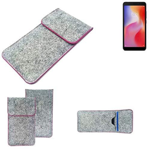 K-S-Trade Handy Schutz Hülle Für Xiaomi Redmi 6a Schutzhülle Handyhülle Filztasche Pouch Tasche Hülle Sleeve Filzhülle Hellgrau Pinker Rand