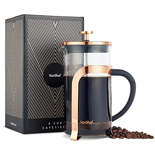 VonShef French Press Coffee and Tea Maker Premium Glass Heat Resistant Cafetiere, Stainless Steel 1 Liter, 34 Ounce, 8 Cup Copper