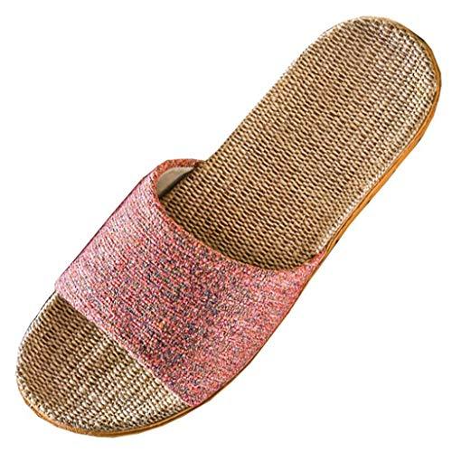 SUGEER Womens Comfortable Floor Cotton Linen Slippers Slip Non-Slip Thick Slippers Fashion Ffloor Slip Non-Slip Slippers