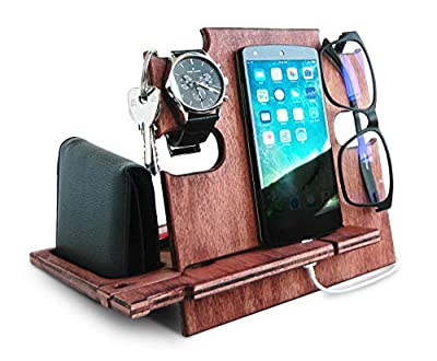 Docking Station Cherry, Cell Phone Stand for Men - Wooden Desk Organizer for Devices
