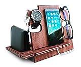 Estación de acoplamiento de madera para hombres, soporte para smartphone, idea – soporte para mesita de noche para él, organizador de escritorio cereza