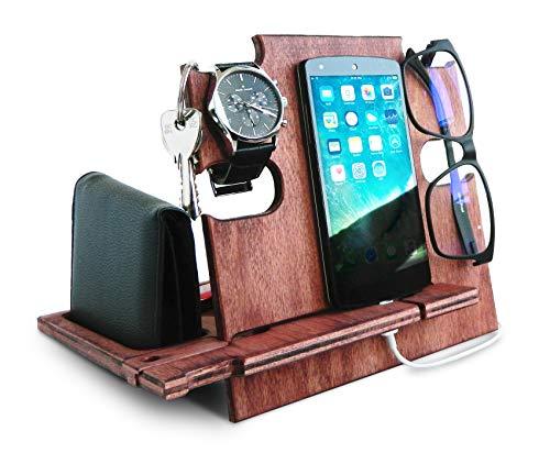 Docking station in legno, supporto per smartphone, supporto comodino, organizer da scrivania Cherry