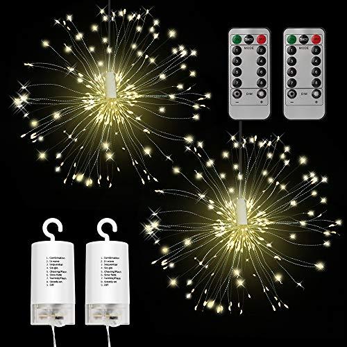 Feuerwerk Lichterkette 2 Stück, Sylanda 120 LEDs Feuerwerk LED Licht mit Fernbedienung 8 Modi der Lumineszenz Blumenlicht Ideal für Weihnachten Dekoration Garten Terrasse Hochzeit Party, Warmweiß