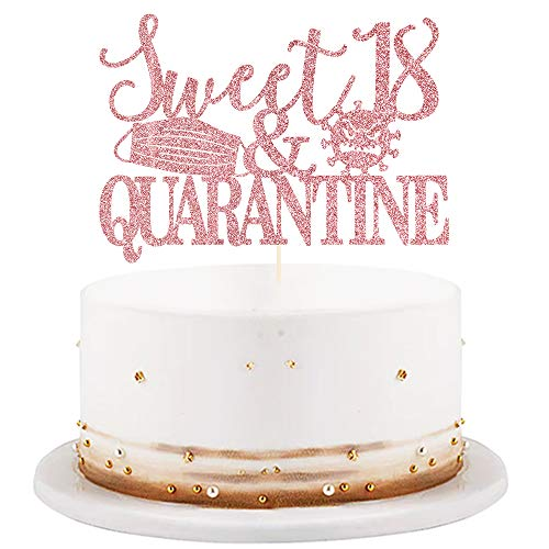 LVEUD Sweet 18 & Quarantined Cake Topper- 18th Quarantined Birthday Party Decorations,Social Distancing Birthday Party Supplies,18th Quarantined Birthday Party Decorations (Rose Gold Glitter)