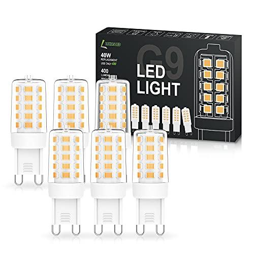 LOHAS 4W G9 LED Lampe, LED Glühbirnen G9, Stiftsockellampe G9, Leuchtmittel Stiftsockel, ersetz 40W Halogenlampe, 3,000K Warmweiß, 400LM, Nicht Dimmbar, 360 ° Abstrahlwinkel, 6er Pack