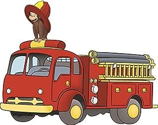 7 Inch Curious George Firetruck Fireman Monkey Animal Removable Peel Self Stick Adhesive Vinyl Decorative Wall Decal Sticker Art Kids Room Home Decor Girl Boy Children Bedroom Nursery 7 1/2 x 6 inches