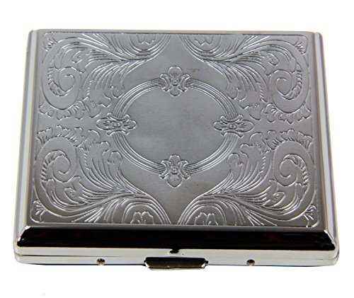 RFID Blocking Victorian Style Classic Metallic Silver Color Double Sided King Cigarette Case Holder and Credit Card RFID Protective Security Wallet (Mirror)