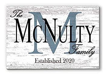 Broad Bay Family Name Sign Personalized Wedding Gift for Couple Monogram Established Custom Wall Decor EST Date