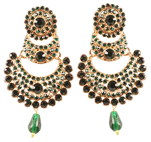 NEW! Touchstone Indian Bollywood Traditional Chaandbaali Half Moon Crescent Inspired Green Color Faux Emerald Pearls Designer Jewelry Chandelier Earrings In Antique Gold Tone For Women.