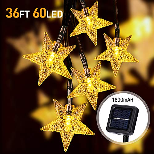 Solar Garden Lights Outdoor,36FT/11M 60 LED Solar Star String Lights Waterproof Solar Powered with 8 Modes for Garden, Patio, Yard,Fence, Home, Party, Wedding, Festival Decoration (Warmweiß)