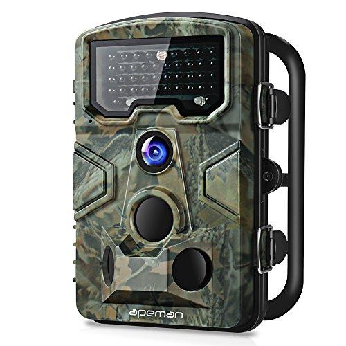 apeman Wildkamera mit Bewegungsmelder 1080P 12MP 120° Weitwinkel Nachtsicht 20 m mit 2.4' LCD Display IP66 Wasserdichtes Gehäuse für die Jagd und Heimtraining Fotofalle, grün
