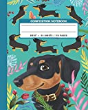 Composition Notebook: Cute Puppy Black And Tan Dachshund Dog - Pet Animals Exercise Book & Journal , Back To School Gifts For Teens Girls Boys Kids Friends Students 8x10' 110 Pages