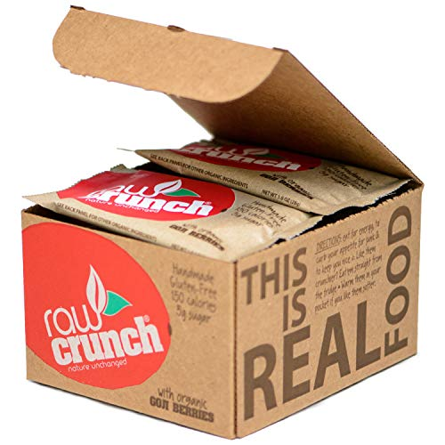Raw Crunch Bar (Box of 12) - Organic Goji Berry - Gluten Free, Dairy Free, Low Carb, Paleo, Plant Based Protein,150 Calorie Real Food Bar