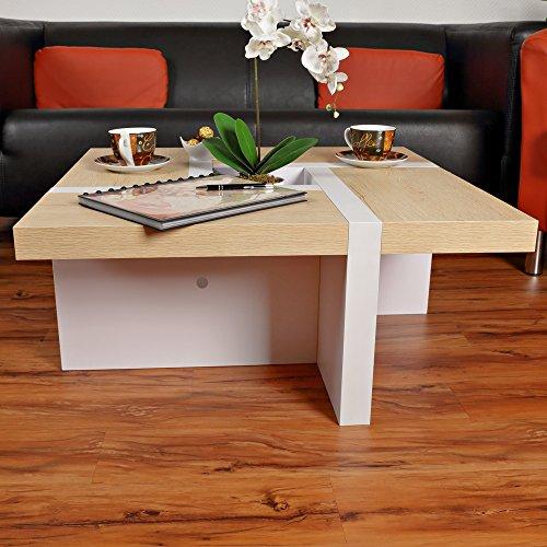 Directachat56 Table Basse Design, modèle Oregon, Blanc/Brun