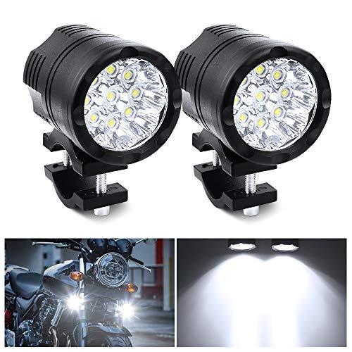 Biqing Universal 90W Motorcycle Spotlights LED Headlights,9 LEDs Motorbike Driving Fog Lights Auxiliary Lamp Daytime Running Lights 12V 24V 7500LM