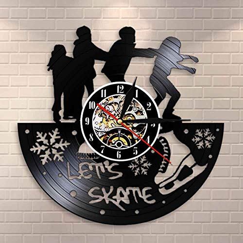 Let's Skate Freestyle Skate Club Decor Reloj de pared para patinaje vintage de vinilo discográfico de pared Skate Party Reloj silencioso no ticking