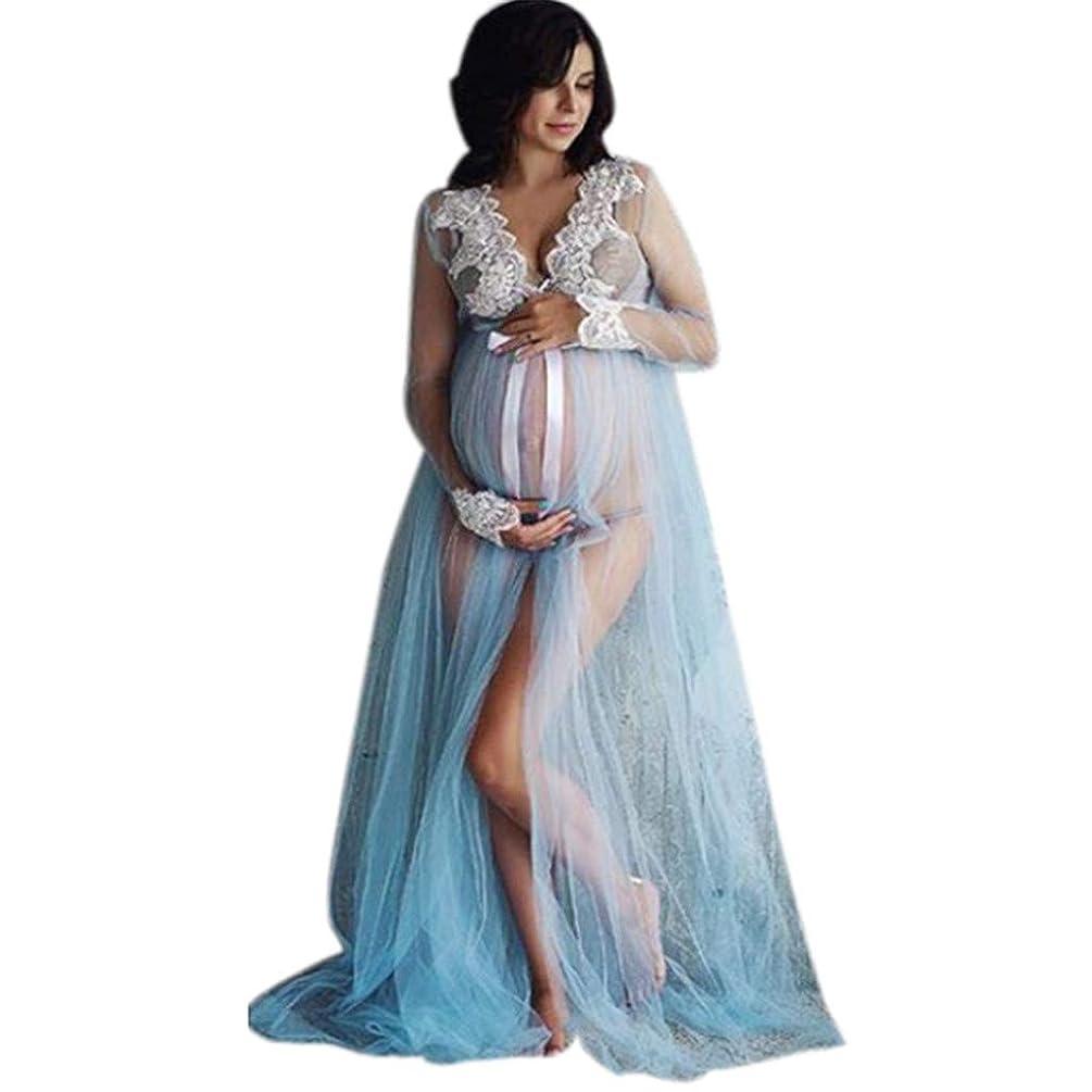 Maternity Lace Dress, Inkach Pregnancy Women Open Front Long Sleeve Long Maxi Dresses Maternity Gown (XL, Blue)