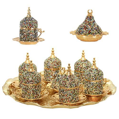 Türkisch-griechisch-arabischer Kaffee-Espressotassen mit Untertasse, Kristall-Set, verschiedene Farben, 27-teilig