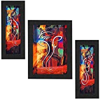 Size:-1Pc. (centre) 10.5x13.5.1.5 inches 2 pcs. 6x13.5x1.5 Inches (LXBXH) in Inches. Package contains : Three UV Textured Ganesh Print Framed Painting without glass Material : High quality synthetic in framing. Light weight quality with multi-effects...