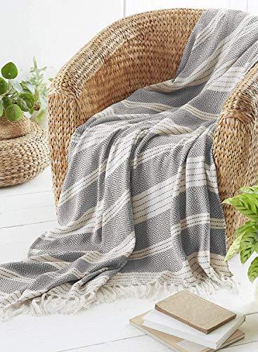 Country Club - Coperta per letto e divano, 120 x 150 cm, colore grigio, 120 x 150 cm