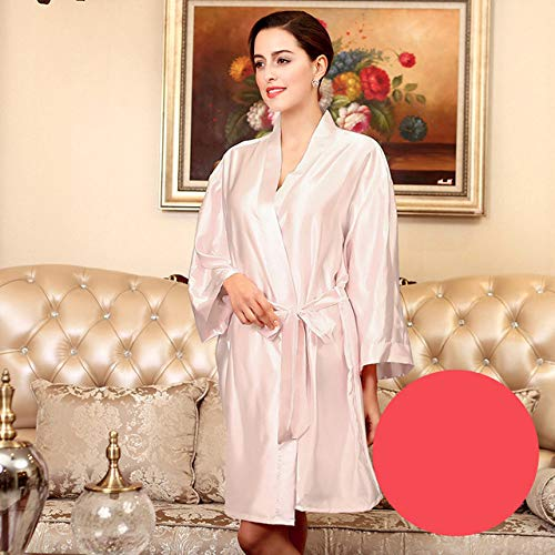 YRTHOR Albornoz Kimono de satén de Seda para Mujer, Bata de baño sólida de Dama de Honor hasta la Rodilla, Bata de Novia de Talla Grande para Ropa de Dormir de Boda,Pink,XL