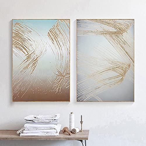 JRLDMD Cartel de impresión de Arte Minimalista Moderno luz de Lujo Dorado Abstracto línea Creativa Pintura Decorativa Fondo Pintura de Pared 50x70cmx2 sin Marco