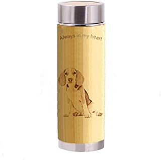 Personalized Photo Water Bottle Coffee Mug Bamboo Vacuum cup Insulated Leak Proof Vacuum Cup Flask for Women/Men/Kids 12.2 ounces