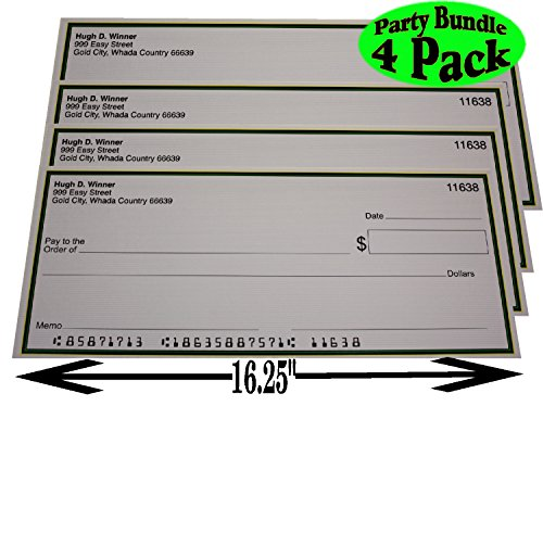 "Casino Night Big Winner Large Fake Checks (16.25"" X 6.9"") Party Set Bundle - 4 Pack"