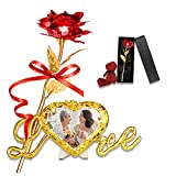 Galaxy Rose Artificial Flower with Stand Photo Frame Luxury Gift Box Gold Foil Rose Flower Forever Infinity Rose Best Gifts for Mom Birthday Gifts for Her(Red)