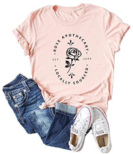 Women's Rose Apothecary T-Shirts Schitt's Creek Tees Short Sleeve Printed Floral Graphic Tops (Pink, Medium)