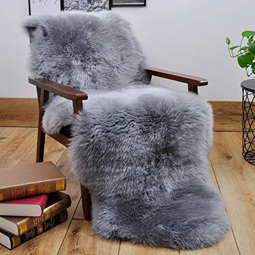 HUAHOO Gray Sheepskin Rug Double Pelt Natural Fur Blanket Seat Covers -2ft x 6ft Genuine Sheepskin Rug for Kids Bedroom Sofa Chair Cover Seat Cushion Pad Pets Dogs Mat