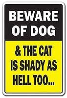 Beware Dog & Cat Is Shady Animal Jokes Parking 金属板ブリキ看板警告サイン注意サイン表示パネル情報サイン金属安全サイン
