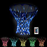 Rukket Basketball Light Up Hoop Net, Change Colors with Remote, Heavy Duty LED Replacement Basketball Nets, Fits Outdoor Indoor 12 Loops Rim, Glow in The Dark Neon Basketball Hoop