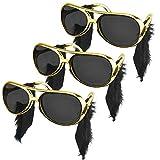 MONSIVILIA 3 gafas de sol Elvis con coqueteo Rock Star con sien años 50 y 60, accesorio para disfraz, color dorado