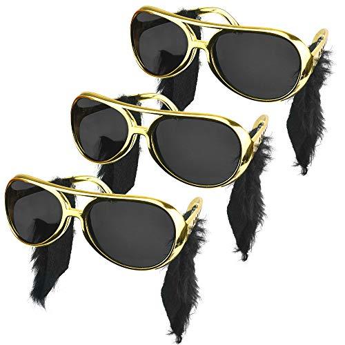 MONSIVILIA 3 Stück Elvis Sonnenbrille mit koteletten Rock Star Sonnenbrille mit Schläfe 50er-60er Jahre Brille Kostüm-Zubehör Gold Elvis Brille Retro Brille für Geburtstagsfeier, Themenparty, Karneval