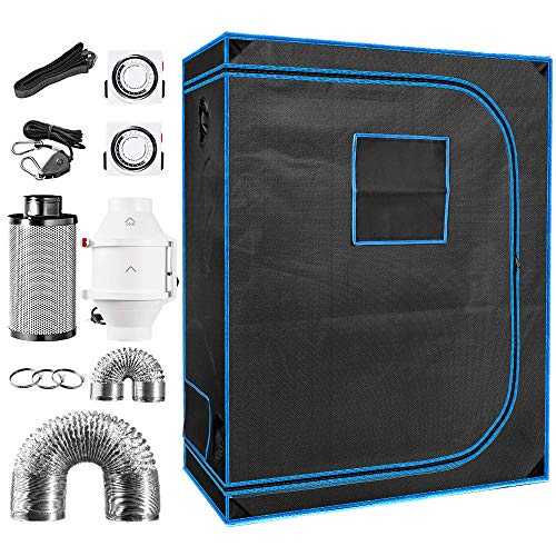 """48"""" x 24"""" x 64"""" Indoor Plant Grow Tent Complete Kit, Hydroponics Tent System with 4"""" Inline Fan + Carbon Filter + Ducting Combos + Timer + Hangers"""