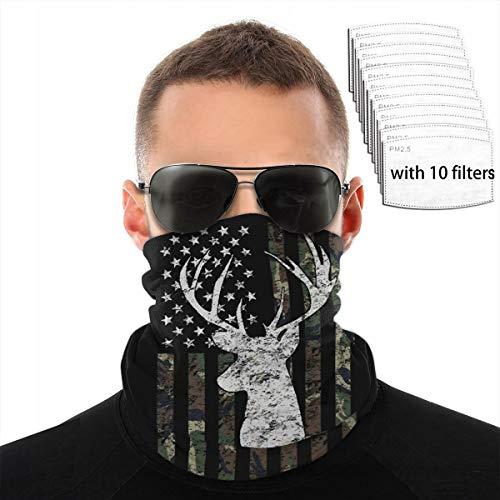 PBC Womens Mens Headband Scarf Neck Gaiter Face Mask Bandana Muffler Sweatband Ski Neck Warmer Ski Mask with Filters - Deer Camo Camouflage American Flag Hunting