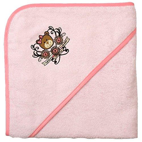 Mauz Grande serviette de bain à capuche en tissu éponge 100 x 100 cm (ours rose)