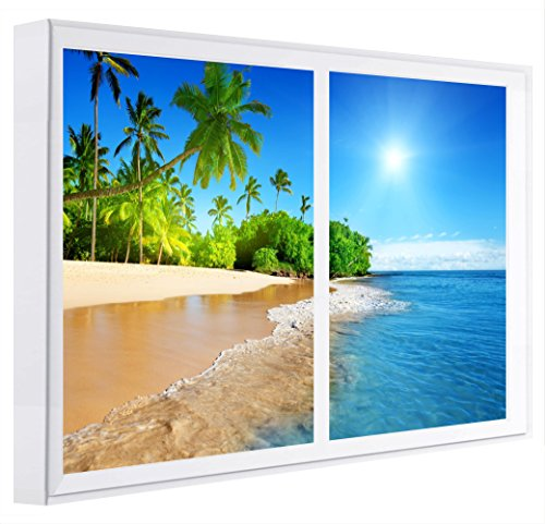 Ccretroiluminados Playa Desierta Cuadros Decorativos Ventanas Falsas con Luz Madera Blanco 80x80x6.5 cm