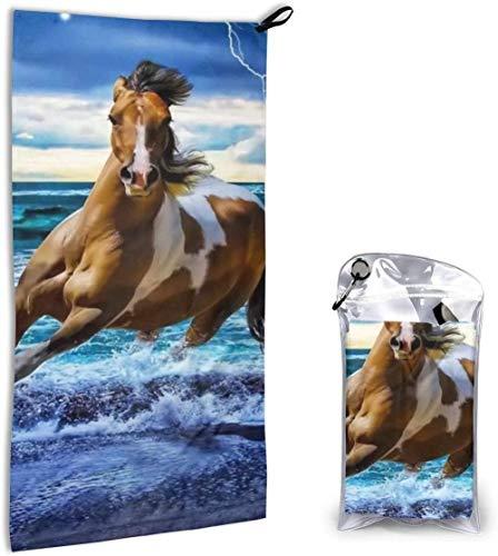 Thusjh Running Horse Super absorbente ligero microfibra compacta toalla de secado rápido adecuada para natación, camping, fitness yoga