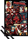1art1 Deadpool Póster (91x61 cm) Outta This Way, Nerd. Y 1 Lote De 2 Varillas Negras