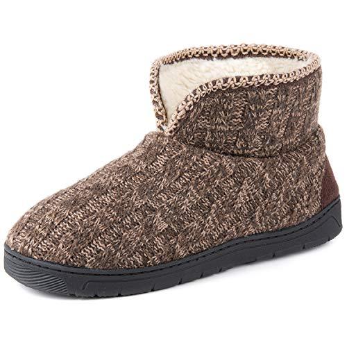 RockDove Herren Sweater Knit Bootie Slipper mit Memory Foam, Braun (mokka), 45/46 EU