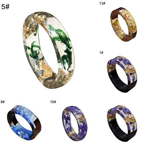 Dyyicun12 Mode Vrouwen Handgemaakte Hout hars folie Bloem Planten Vinger Ring Sieraden Decor 5 STKS