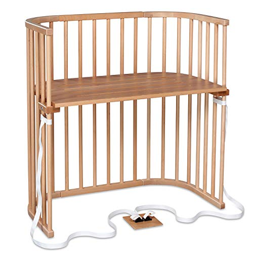 babybay Boxspring Beistellbett aus massivem Buchenholz I Kinderbett Höhe stufenlos verstellbar & umweltfreundlich I mitwachsendes Babybett, natur lackiert