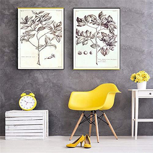 Cuadros de lienzo Flor Árbol Vintage Imagen de sala de estar Impresión decorativa Decoración para el hogar Arte de la pared Pintura de lienzo nórdica Retro Planta Poster-40X50Cmx2 piezas sin marco
