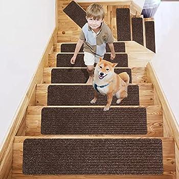 Stair Treads Carpet Non Slip Self Adhesive Stair Treads Carpet Treads for Wood Stairs 8  X 30  (7 in Pack  Stair Runners for Wooden Steps Stair Runner for Kids Elders and Pets