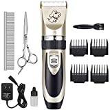 Maxshop Dog Grooming Kit, Low Noise Rechargeable Dogs Shaver Clippers Electric Quiet Dog Hair Trimmer for Dogs and Cats with Comb Guides Scissors Nail Kits