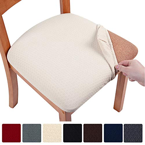 smiry Stretch Spandex Jacquard Dining Room Chair Seat Covers, Removable Washable Anti-Dust Dinning...