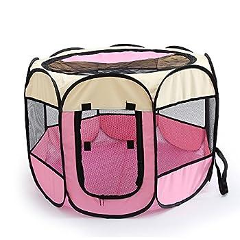 Tineer Portable Pet Cat Cage pour Chien Niche Chenil Tente Lit Parc d'enfant Camping de Plein air Pliable Maison de Caisse de Chien de Voyage Playpen (Medium: 90×90×60cm, Pink)