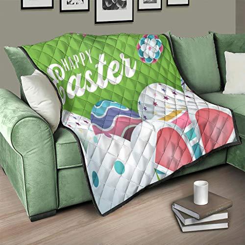 AXGM Colcha con diseño de conejo de Pascua, manta para el salón, impresión 3D, 180 x 200 cm, color blanco